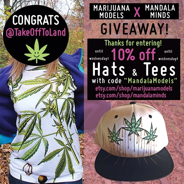 "Congrats @takeofftoland!!! Email us your address so we can send you your goodies 😬  Thanks for all the entries everyone! Both @mandalaminds and @marijuanamodels will be doing 10% off as a thank you for everyone's support! Use code ""mandalamodels"" at checkout until Wednesday! Etsy.com/shop/MarijuanaModels Etsy.com/shop/MandalaMinds 😙"