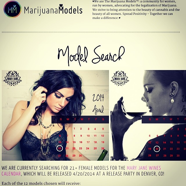 We're making a calendar with @MaryJaneWines!  The search for 12 models will be ending soon!   Each model will: Get a care package with Mary Jane Wines, Marijuana Models, and other 420 company goodies Her own month in the calendar & A commission check quarterly!!! INTERESTED? Link for more details and to apply is in bio️ FourTwentyCalendar.com