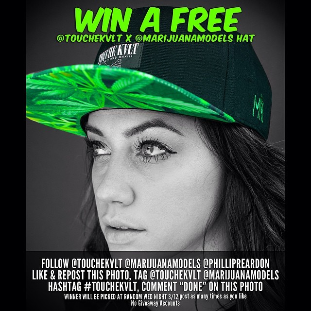 LAST CHANCE!  WIN A @TOUCHEKVLT X @MARIJUANAMODELS HAT  FOLLOW @TOUCHEKVLT @MARIJUANAMODELS @PHILLIPREARDON REPOST THIS PHOTO, TAG @TOUCHEKVLT & @MARIJUANAMODELS HASHTAG WINNER WILL BE PICKED AT RANDOM TONIGHT! post as many times as you like, no giveaway accounts