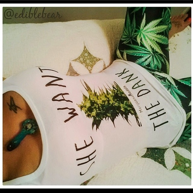 @ediblebear looking fabulous in her new tank!!! Get your MM apparel here: www.shop.kushcommon.com