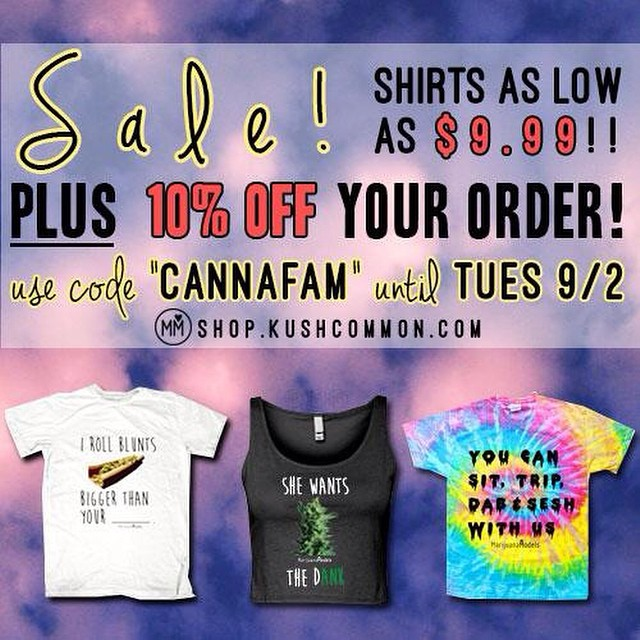 "Have you been wanting one of our tees!? Now's the time to grab one!!! We're having an end of summer sale with tees starting at $9.99 and our new chokers starting at $5!AND Free slaps with every order! Use ""CANNAFAM"" for an ADDITIONAL 10% off! Link to sale section of our site in bio!️"