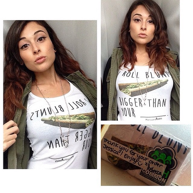"Ft Model @jessmariee333 Looking gorg in her new ""I Roll Blunts Bigger Than Your ______"" tank!!!! ️️️️️️️️️️️ Get your tee, tank or crop at .::SHOP.KUSHCOMMON.COM::."
