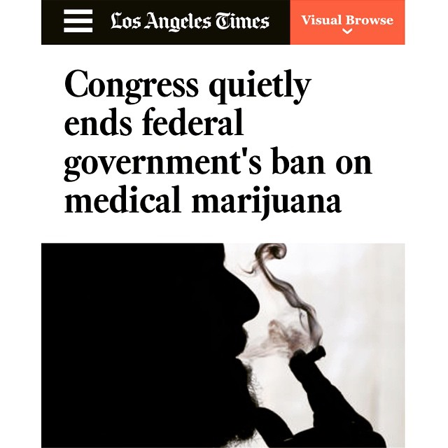 """Under a provision in the spending bill passed by Congress over the weekend, states where medical marijuana is legal would no longer need to worry about federal drug agents raiding retail operations. Agents would be prohibited from doing so."""