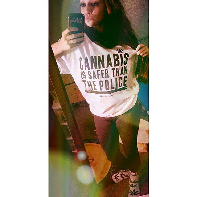"@lizzsmellsliketeenspirit knows what's up Unisex ""Cannabis is safer than the police"" tees are restocked in our shop.  ️SHOP.KUSHCOMMON.COM"