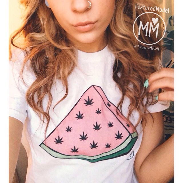 Ft Model @deanna_hnilica in her WeedMelon tee!! ️Currently SOLD OUT️ Should we reprint?? and/or make Weedmelon stickers!? See what's in stock at: ️SHOP.KUSHCOMMON.COM