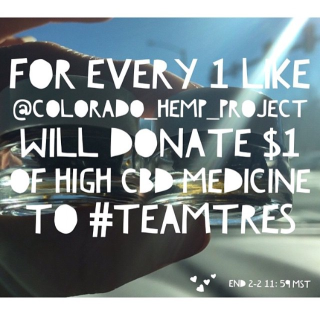Head over to the awesome people at @colorado_hemp_project and just LIKE this photo on their page!!! @colorado_hemp_project will be donating medicine to Tres (@brandynico) when they head to Colorado! C'mon FAM help me push it over 4,000 likes!!!! ENDS TONIGHT