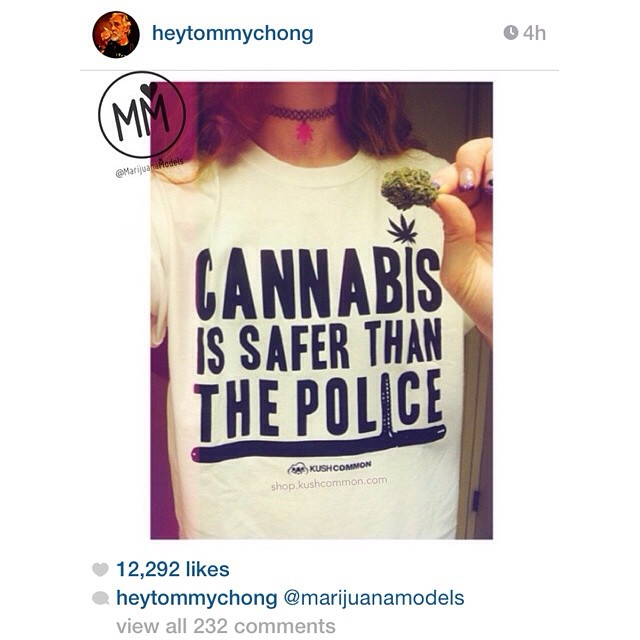 HOLY SHIT! Thank you so much @heytommychong for reposting @positiveginger in our Cannabis is Safer than the Police tee!!!!! But more than that, thank you for standing up for cannabis AND for human rights. POWER TO THE PEOPLE! I just put up a new pre-order for these white ones. Going to have to send @heytommychong one!