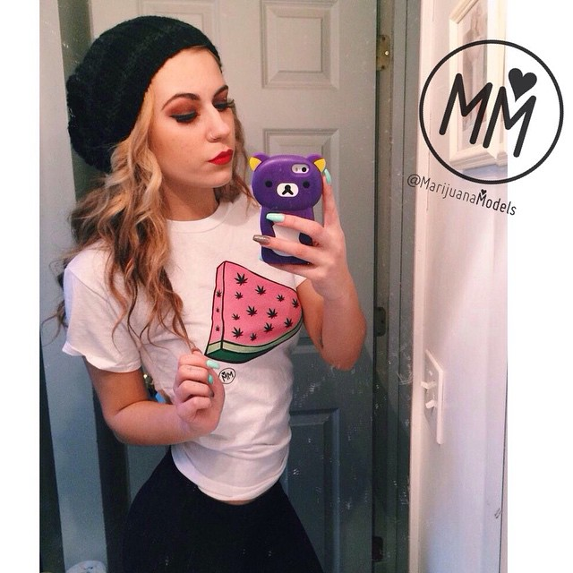 This babe @deanna_hnilica  wearing her WeedMelon tee! Back in stock this FRIDAY! It'll be available as a crop and a tee. Or does anybody want a tank? ️SHOP.KUSHCOMMON.COM