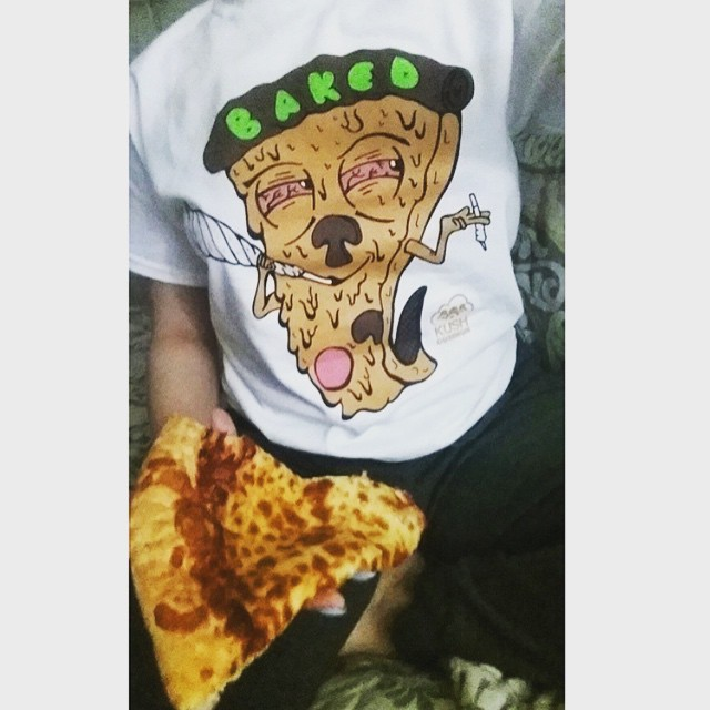 @jenox Hope you're all pǝʞɐq right about now😛 BAKED pizza tees available in our shop! Link in bio  Tag us to be featured!