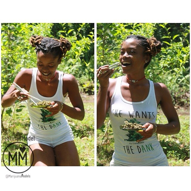 We ♡ this beauty @miingini! ◡̈ Enjoying some Mary Jane on a beautiful day in her She Wants The Dank tank ❀Available from→ shop.kushcommon.com ◡̈ ∞ Link in bio! xo