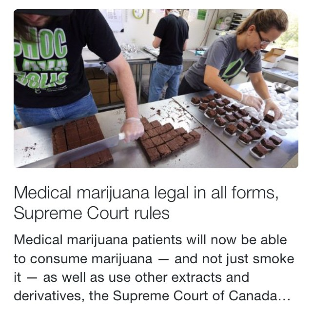 Meanwhile in Canada...  Thanks for the info @relegalization!  http://www.cbc.ca/m/news/politics/medical-marijuana-legal-in-all-forms-supreme-court-rules-1.3109148