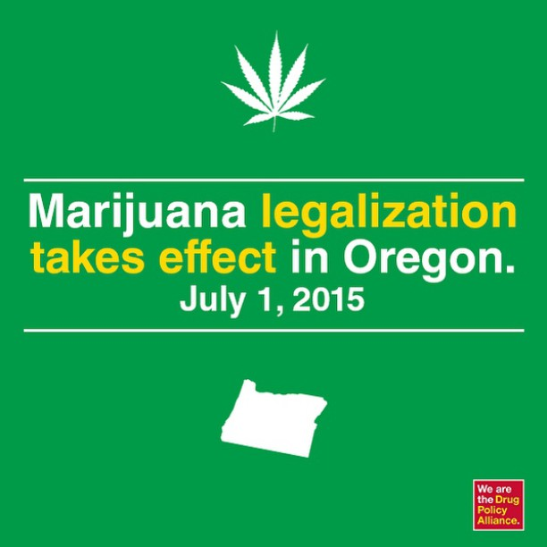 Today's the day! Adults 21+ in Oregon can legally carry up to one ounce outside of their homes, 8 ounces inside their homes and up to 4 plants. Legal sales aren't expected to begin until Fall 2016. ️️️