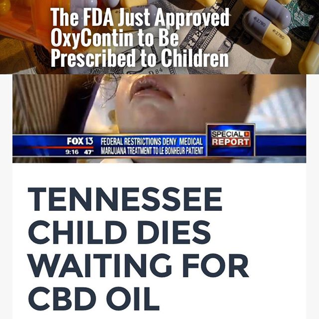 "Beyond disturbing..... Today the FDA approved OxyContin for children as young as 11. Meanwhile children and adults are DYING while being DENIED natural medicine that could potentially save their lives as well as DYING from these addicting and dangerous pharmaceutical drugs that are ""approved"" for us all to use. ----- I juxtaposed these two articles for you in the photo. The bottom one is from 2014: ""By age 3 Chloe had suffered from more than 75,000 seizures, affecting the development of muscles, coordination, and cognition. Suffering from around 100 seizures per day, doctors tried everything in the book to heal young Chloe, including multiple surgeries at Le Bonheur Children's Hospital and 20 different types of medication. In November her family reported that she was taking 5 medications 3 times a day including medications like Methadone. One of the medications forced Chloe's parents to sign a waiver due to a severe risk of blindness as a side effect""...she lived in Tennessee and did not have access to medical marijuana or CBD oil and any potential legislation did not move quickly enough. She passed away in December. ------ How sick and can you be world? Clearly money is held above all else."