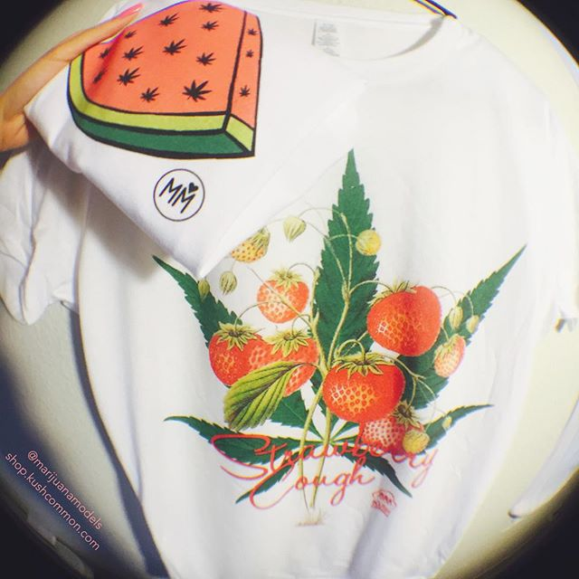 What are some other fruity strains besides Strawberry Cough? :::::::::::::::::::::::::::✽ ❁ ✽::::::::::::::::::::::::::: Weedmelon & Strawberry cough tops available in our shop as tees, tanks, or crops!️ :::::::::www.shop.kushcommon.com::::::::: Link in bio! Worldwide shipping🌍️