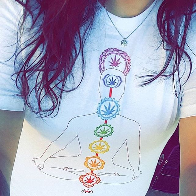 "LAST CHANCE 30% OFF TODAY! Ft @babiegeee in her Chakra tee Available as a tee, tank, or crop! ️Use code ""holidaze"" to receive 30% off your order at checkout!!! =$13 tees (excludes $10 dimebag items) www.shop.kushcommon.com"
