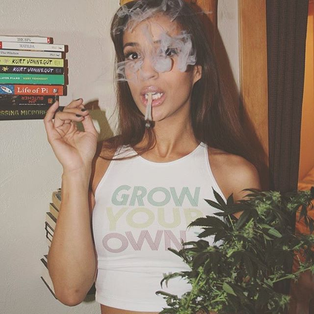 "The lovely @sativaball in her Grow Your Own top️ Available in our shop in men's and women's sizes and several styles! ️20% OFF EVERYTHING today with code ""StayHigh"""